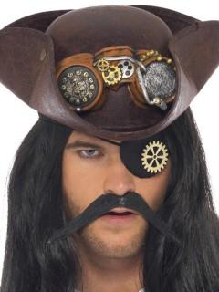 Steampunk-Augenklappe Piraten-Accessoire schwarz-bronze