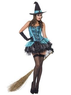 Sexy Hexe Halloween Damenkostüm türkis-schwarz