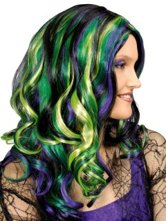 Popstar-Perücke langhaarig mit Locken schwarz-lila-grün