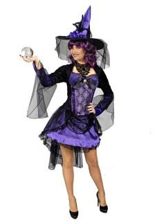 Burlesque Hexe Halloween Damenkostüm lila-schwarz