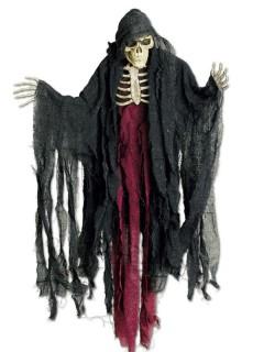 Sensenmann Halloween-Hängedeko Skelett schwarz-rot 85cm