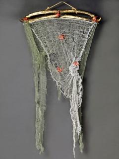 Lumpengewebe-Vorhang Halloween-Deko grün-beige 84x48cm