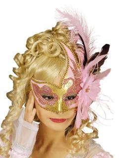 Venezianische Augenmaske mit Federn gold-rosa