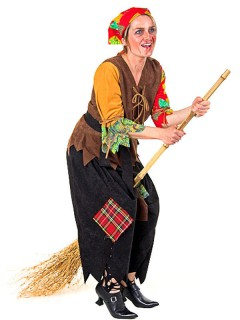 Traditionelle Hexe Halloween-Damenkostüm braun-rot