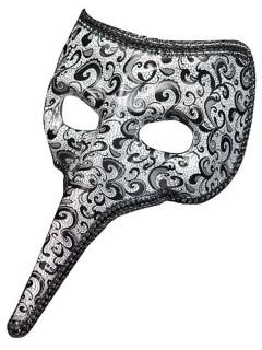 Venezianische Schnabelmaske Paisley schwarz-weiss