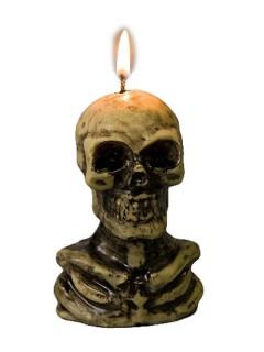 Skelett-Kerze Halloween-Dekoration beige-schwarz