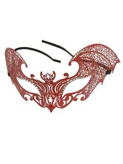 Venezianische Augenmaske mit Strasssteinen Fledermaus rot