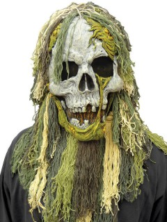 Skelett-Zombie Sumpfmonster Halloween-Maske grau-grün