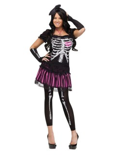 Süsses Skelett Halloween Damenkostüm schwarz-pink