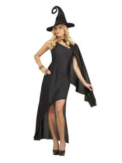 Elegantes Hexen-Kostüm für Damen Halloweenkostüm schwarz