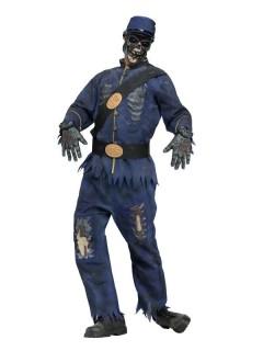 Zombie-Soldat Halloween-Kostüm blau-grau
