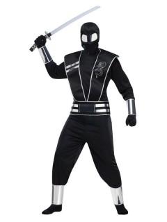 Asiatisches Ninja-Kostüm für Herren Halloween-Kostüm schwarz-silber