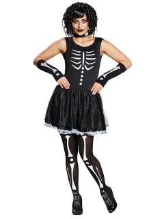 Skelett-Damenkostüm für Halloween schwarz-weiss