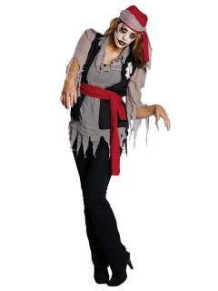 Zombie-Piratin-Kostüm für Damen grau-schwarz-rot