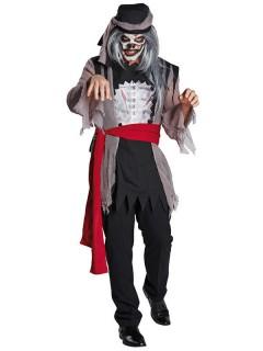Zombie-Piratenkostüm für Herren Halloweenkostüm grau-schwarz-rot