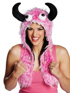 Süßes Monster Fell-Mütze pink-weiss