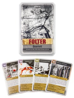 Folter Quartett Kartenspiel 32-teilig bunt 10x6x2cm