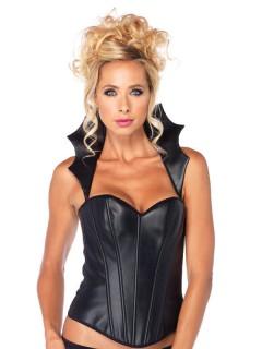 Gothic-Korsage Vollbrust mit Kragen Halloween-Kostüm schwarz