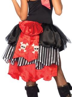 Piratinnen Tournüre Überrock mit Totenkopf schwarz-rot-weiss