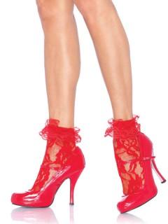 Rüschen-Socken aus Spitze rot