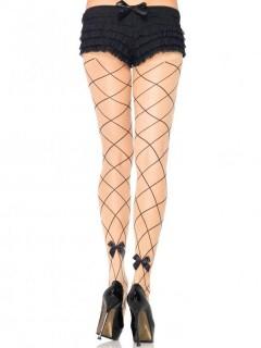 Damen-Strumpfhose Gitter mit Schleifen hautfarben-schwarz