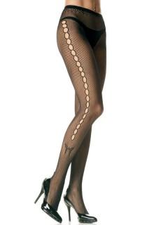 Netzstrumpfhose mit Lochmuster und Schmetterling Kostüm-Accessoire schwarz