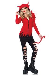 Freche Teufelin Damenkostüm rot-schwarz