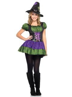 Hexen-Kostüm für Jugendliche Halloweenkostüm grün-lila