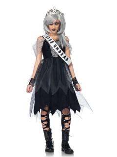 Zombie-Ballkönigin Kinder-Kostüm schwarz-grau