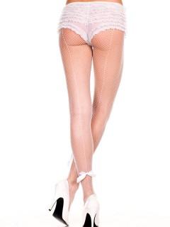 Damen-Netzstrumpfhose mit Rückennaht und Satin-Schleifen weiss