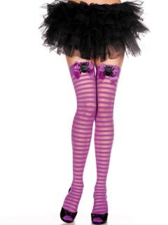 Gothic Overknee-Strümpfe mit Schleifen und Spinnen lila-schwarz