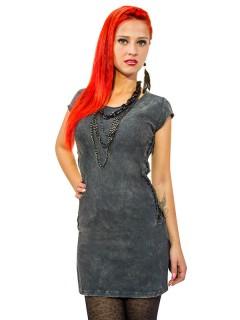 Gothic Shirt-Minikleid Cutouts schwarz