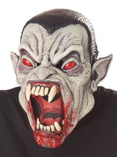 Vampir Monster Halloween Ani-Motion Maske schwarz-grau-rot