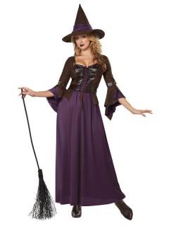 Mystische Hexe Magierin Damenkostüm schwarz-lila