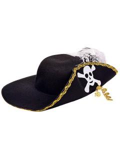 Edler Piratenhut mit Münzen schwarz-gold-weiss
