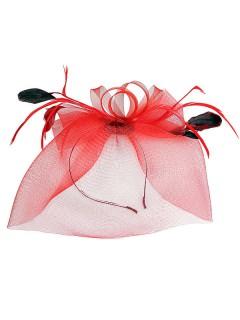 Netzhaarteil mit Federn Haarschmuck Accessoire rot-schwarz