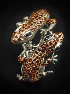 Armspange Echsen mit Edelsteinen silber-braun