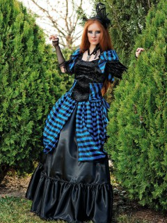 Edles Gothic-Kleid Deluxe Damenkostüm schwarz-blau