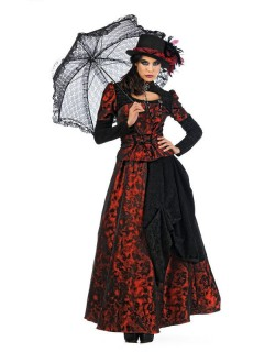 Edles Gothic-Kleid Deluxe Damenkostüm schwarz-rot
