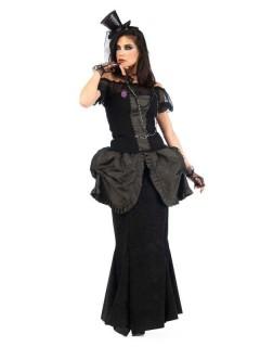 Viktorianisches Gothic-Kleid Deluxe Damenkostüm schwarz