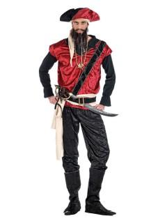 Dunkler Pirat Herrenkostüm Halloweenkostüm schwarz-rot-weiss