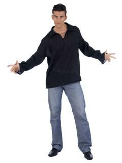 Mittelalter Hemd mit Schnürung schwarz