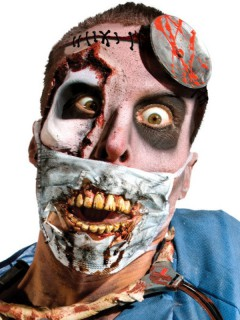 Blutige Zombie-Augen Halloween Latexapplikation schwarz-rot