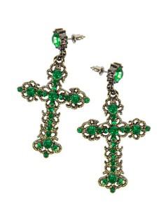 Gothic-Ohrringe Kreuz mit Strasssteinen grün