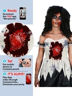 Zombie-Braut Kostüm für Damen iWound Schlagendes Herz Halloween schwarz-weiss-rot