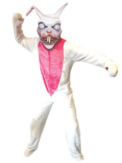 Horror-Hase Halloween-Kostüm weiss-pink