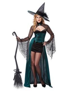 Verführerische Hexe Halloween Damenkostüm schwarz-grün