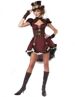 Steampunk-Lady Kostüm für Damen rot-braun-gold