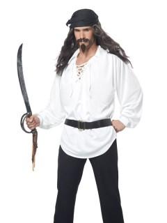 Piraten Langhaar-Perücke mit Bart grau