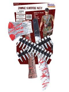Blutiges Zombie Jäger Waffen-Set Halloween silber-rot 6-teilig
